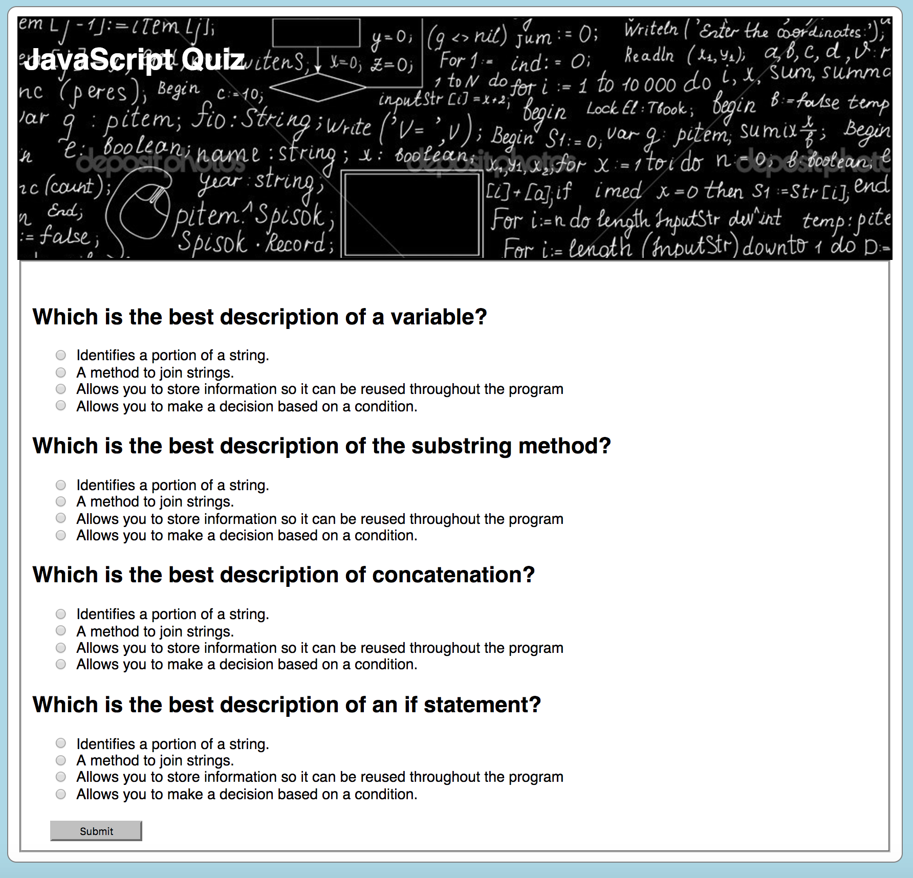 Your Quiz Should Look Something Like The Image Below Right Now